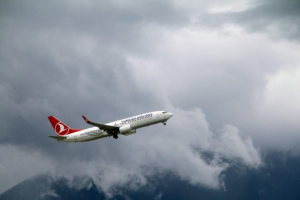 Letadlo Turkish Airline s tulipánem na trupu