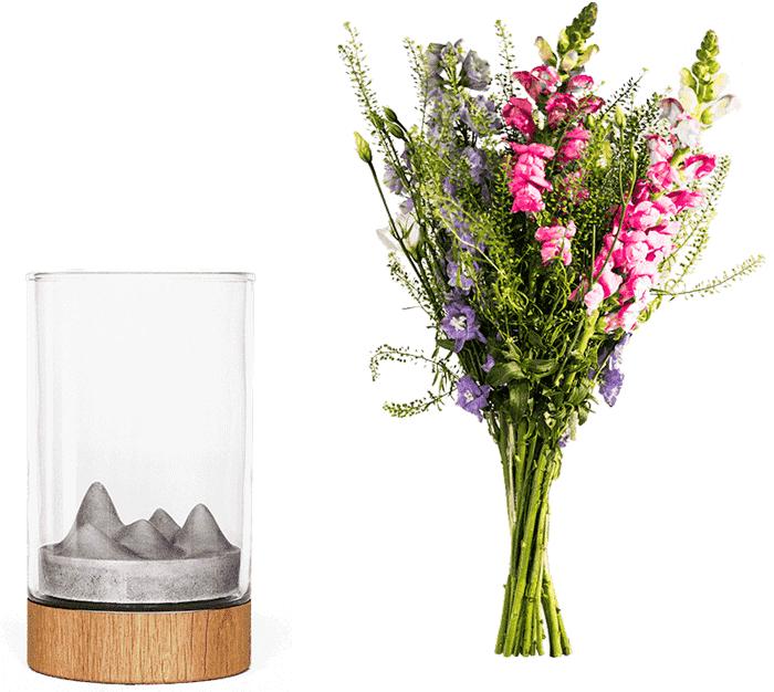 Váza Novaza Moon jako dárek na Valentýna s květinou zdarma