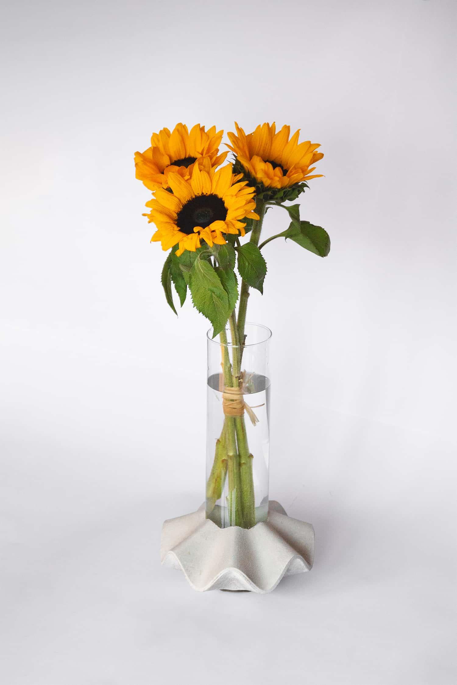 Váza Novaza 77 s jednoduchou valentýnskou květinou slunečnic