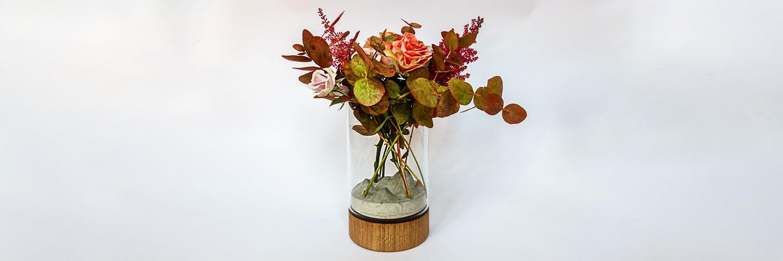 Sklo-betonová designová váza s Vánočními motivy